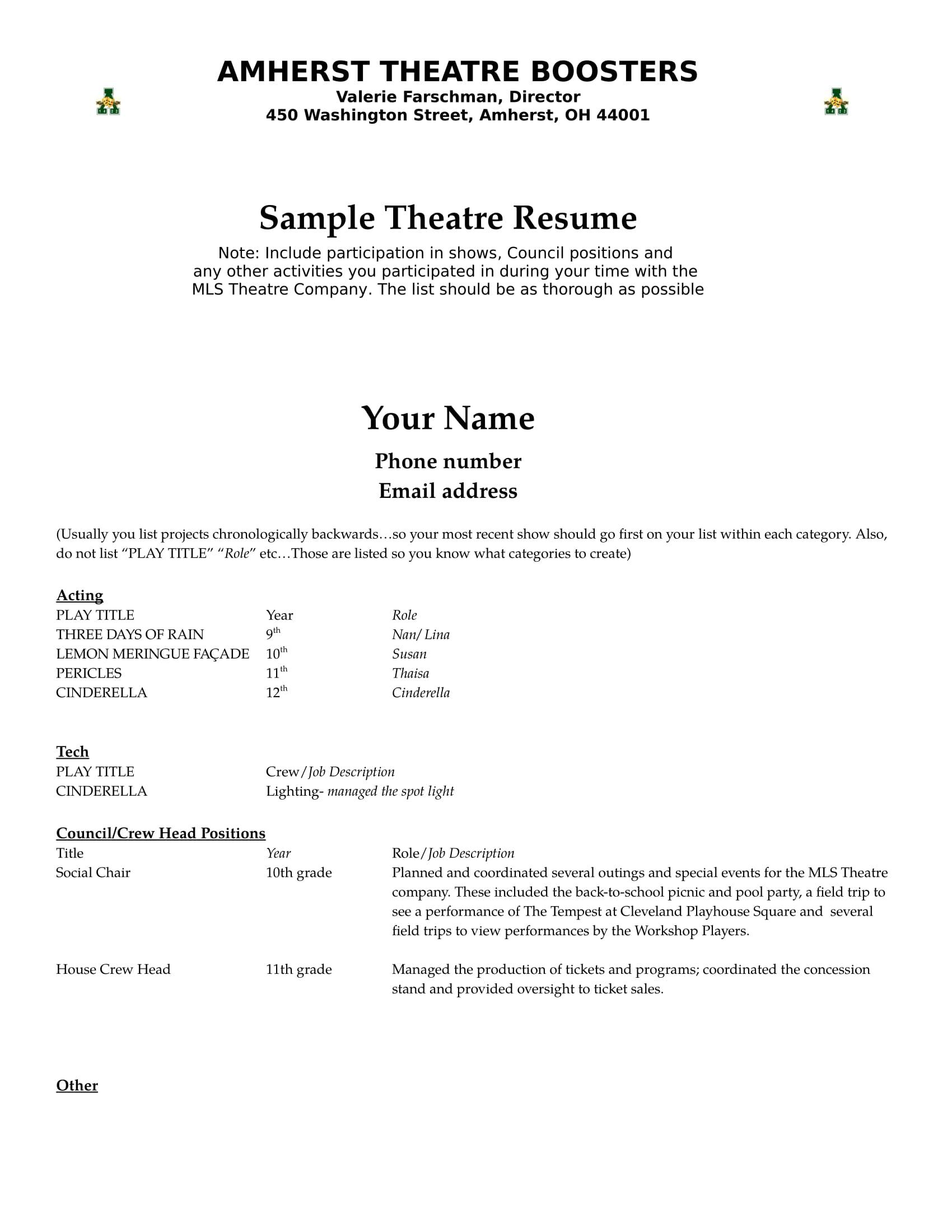 Theatre - Amherst Exempted Village Schools